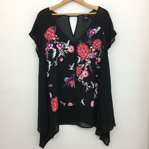 Torrid black sheer floral short sleeve shirt sz 2